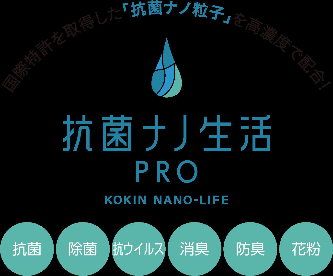国際特許を取得した「抗菌ナノ粒子」を高濃度で配合! 抗菌ナノ生活PRO KOKIN NANO-LIFE